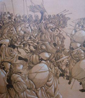 "KAVALERI BORNU. ""Dari Pam Swakarsa ini kemudian lahir sejumlah ormas yang kemudian dikenal sebagai pelaku berbagai peristiwa anarkis hingga kini. Mirip 'Kavaleri Bornu' dari Sudan abad 16-17, pasukan berkuda yang memiliki kekuatan pembasmi dan mampu menjelajah seluruh penjuru gurun Afrika Utara untuk membasmi berdasarkan pesanan para raja penguasa. Preman sejati"". Gambar repro."