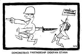 """... Orde Soekarno yang dikatakannya totaliter"""". (Karikatur T. Sutanto 1967"""
