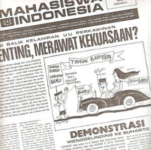 """GUNTINGAN BERITA DEMONSTRASI MENGGELINDING KE SOEHARTO. """"Dalam rangkaian menuju Peristiwa 15 Januari 1974, kelompok Ali Moertopo berhasil menyudutkan Jenderal Soemitro dengan tuduhan berada di belakang berbagai aksi mahasiswa di berbagai kota perguruan tinggi, terutama di Jakarta, yang menjadikan Presiden Soeharto sebagai sasaran kritik. Pada Desember 1973, demonstrasi telah menggelinding langsung ke arah Presiden Soeharto"""". (repro MI, Desember 1973)"""