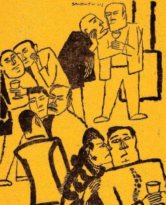 Dalam kehidupan politik dan percaturan (memperebutkan) kekuasaan, makin hari, kita makin gampang menemukan orang-orang yang menampilkan perilaku mirip dengan beberapa gejala skizofrenia. Meskipun cukup tersamar, terlihat sejumlah politisi dan pelaku kekuasaan menunjukkan ciri: kepribadian terbelah atau kepribadian ganda yang dimulai dengan kebiasaan bersikap kipokrit, kegagalan intelektual, sesekali menampilkan perilaku kekanak-kanakan. Untuk yang disebut terakhir ini, Presiden Abdurrahman Wahid pernah mencerca DPR sebagai taman kanak-kanak. (Ilustrasi karikatural: Sanento Juliman 1967)