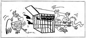 "GARUDA PANCASILA, 1969 CARICATURE. ""Some intellectuals and politicians refute that Pancasila needs revitalization, which is a fallacy purely because Pancasila has been left behind for the sake of narrow, primordial, short-term interests"". (caricature by sanento juliman)"
