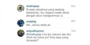 "INSTAGRAM ANI YUDHOYONO. Ani Yudhoyono merasa kesal terhadap sentilan itu. ""Kesal saya jadinya, seolah tidak mengurusi banjir, hanya main-main Instagram saja. Kemarin kan hari libur. Jadi, kadang-kadang comment itu memancing,"" ujarnya. (gambar download)"