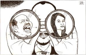 """KARIKATUR KORAN TEMPO: KADER PARTAI KORUP DALAM TEROPONG KPK. """"Pengakuan Susilo Bambang Yudhoyono bahwa menurunnya angka perolehan Partai Demokrat dalam pemilihan umum legislatif yang lalu disebabkan oleh banyaknya kader partainya yang melakukan korupsi, bisa menjadi awal sikap positif yang baru dan berharga."""""""