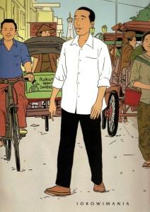 "JOKOWI DALAM PENGGAMBARAN ALA TINTIN. ""Namun saat proses di MK masih berlangsung, tokoh Tintin dari Jawa ini untuk kedua kalinya terbawa oleh optimisme. Ia melangkah membentuk suatu tim transisi pemerintahan. Sebelumnya, Jokowi terdorong optimisme Megawati Soekarnoputeri yang secara dini memproklamirkannya sebagai Presiden baru Indonesia saat proses quick count baru berlangsung satu jam."" (repro tabloid Jokowimania)"
