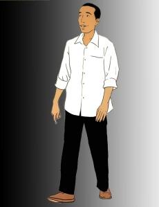 """JOKOWI DI WILAYAH ABU-ABU. """"MENJELANG hari ke-sembilan-puluh sebagai number one, 18 Januari 2015, Presiden Jokowi memang berada di posisi abu-abu. Bila ke depan ia melakukan lagi beberapa kekeliruan bertindak, ia akan makin bergeser ke wilayah yang lebih pekat. Di ujung warna abu-abu, adalah warna hitam."""" (gambar diolah dari Jokomania)"""