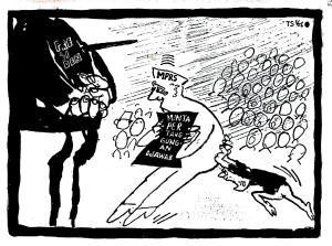 "KARIKATUR MAJU MUNDURNYA  TUNTUTANPERTANGGUNGJAWABAN PRESIDEN SOEKARNO. ""Kenapa saya saja yang diminta pertanggungan-jawab atas terjadinya G-30-S atau yang saya namakan Gestok itu? Tidakkah misalnya Menko Hankam juga bertanggung jawab?"". Menko Hankam waktu itu adalah Jenderal AH Nasoetion, yang kemudian menjadi Ketua MPRS. (Karikatur T. Sutanto tahun 1966)"