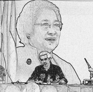 """JOKOWI DAN MEGAWATI SOEKARNOPUTERI. Di bawah payung 'politik bebas aktif' dalam enam bulan ini, Presiden Jokowi berkali-kali seakan menjalani metafora Soekarno, """"aku mengayunkan pedang ke sekelilingku untuk mempertahankan diri."""""""