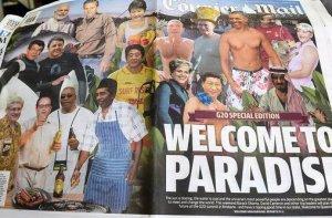 PRESIDEN JOKOWI DI THE COURIER MAIL, AUSTRALIA. Jokowi sebagai koki masak di antara pemimpin G-20. Penghinaan atau pujian (bahwa Jokowi presiden dari negara sumber daya alam yang mengisi perut negara maju)